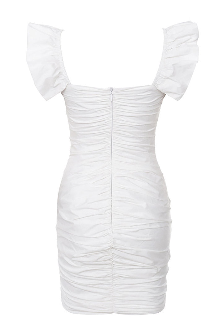 White Ruched Cotton Ruffle Dress - iulover