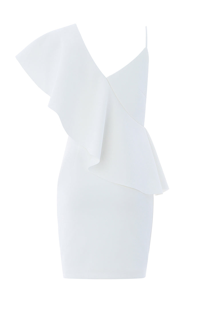 One-Shoulder Asymmetrical Ruffle Party Dress - iulover