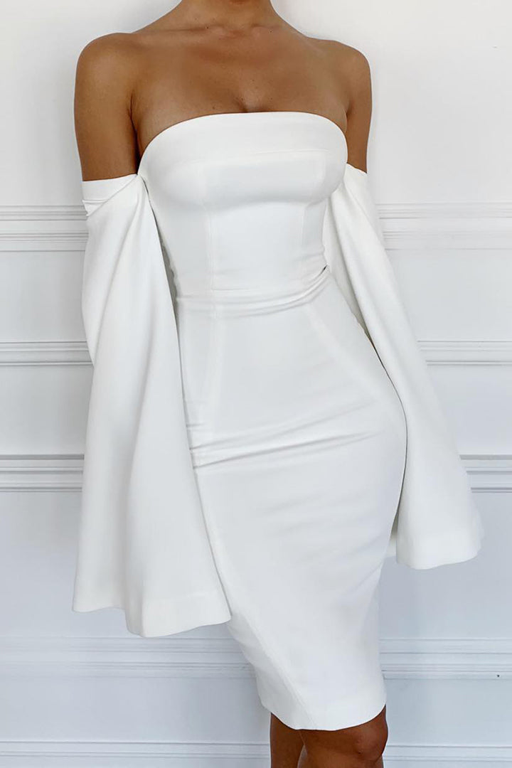 White Strapless Slit Sleeve Dress - iulover