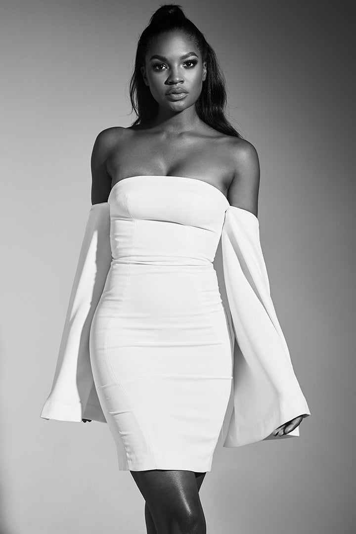 White Strapless Slit Sleeve Dress