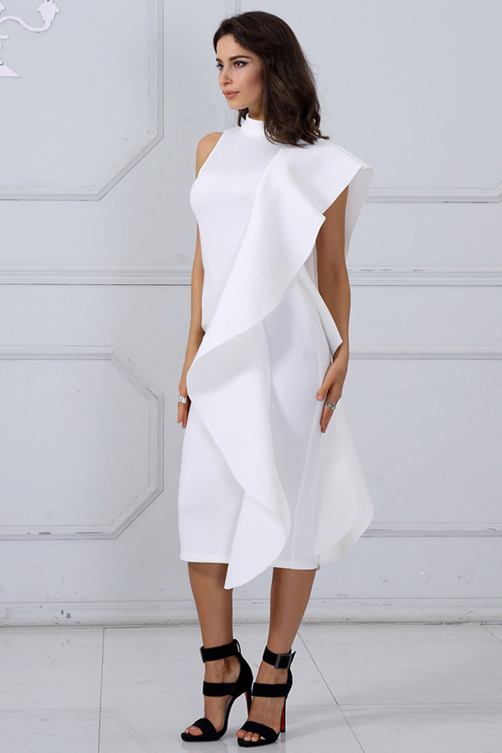 White Sleeveless Patchwork Ruffles Bodycon Dress - iulover