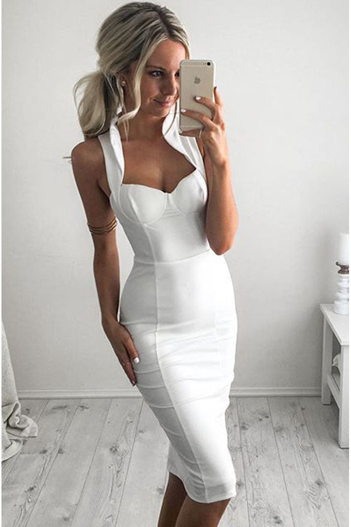 White Backless Halter Deep V Sexy Bandage Dress