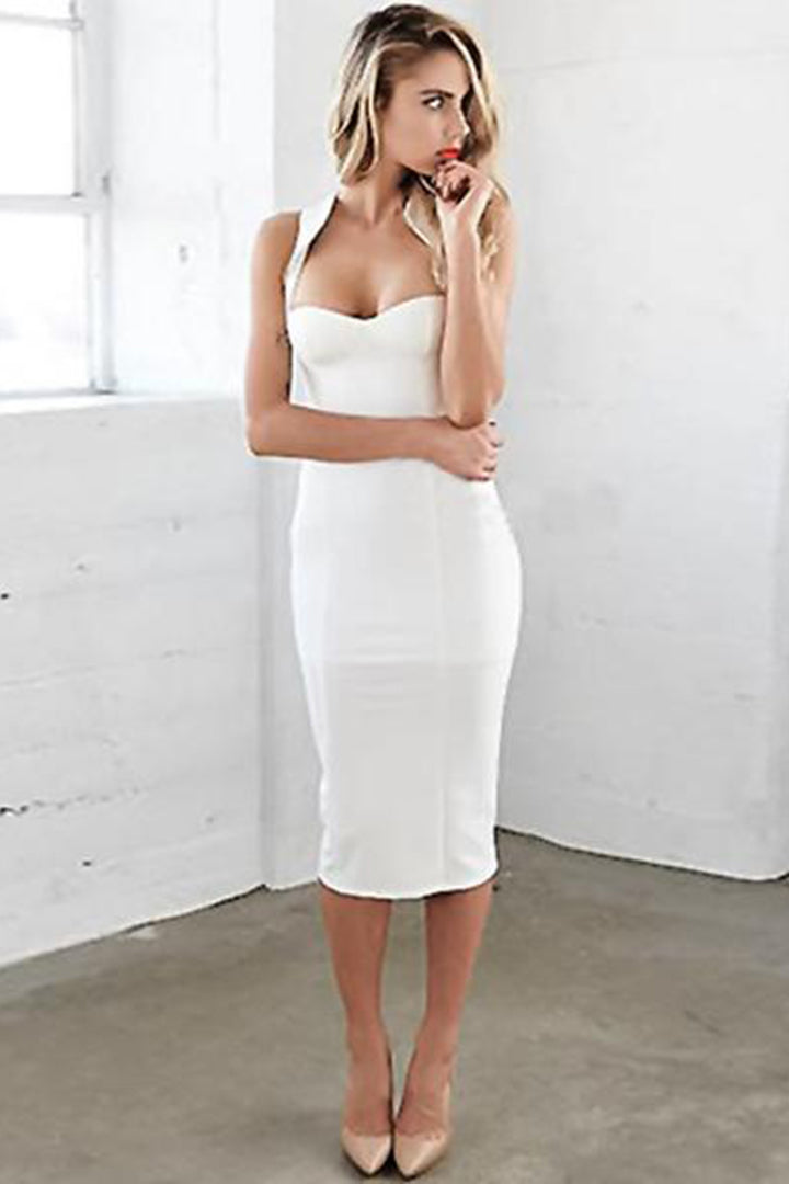 White Sleeveless Spaghetti Strap Bandage Dress