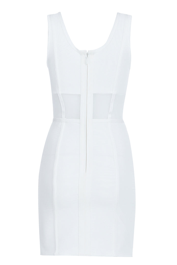 White Hollow Out Bandage Mini Dress - iulover