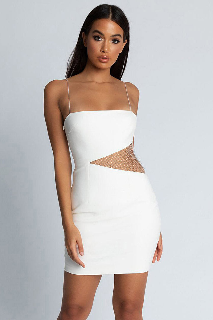 Black Strappy Bodycon Hollow Out Bandage Dress - iulover