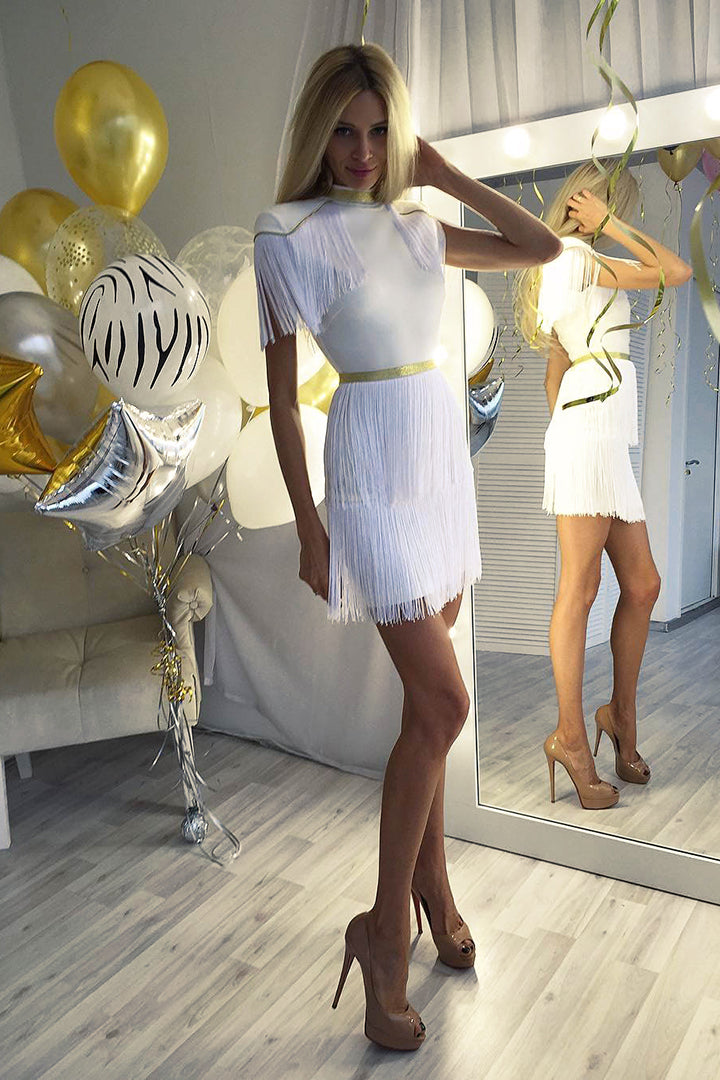 White Tassel Bodycon Sheath Bandage Dress - iulover