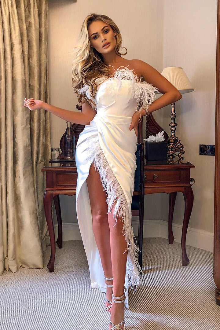 Strapless Feather Satin Gown Black White - iulover