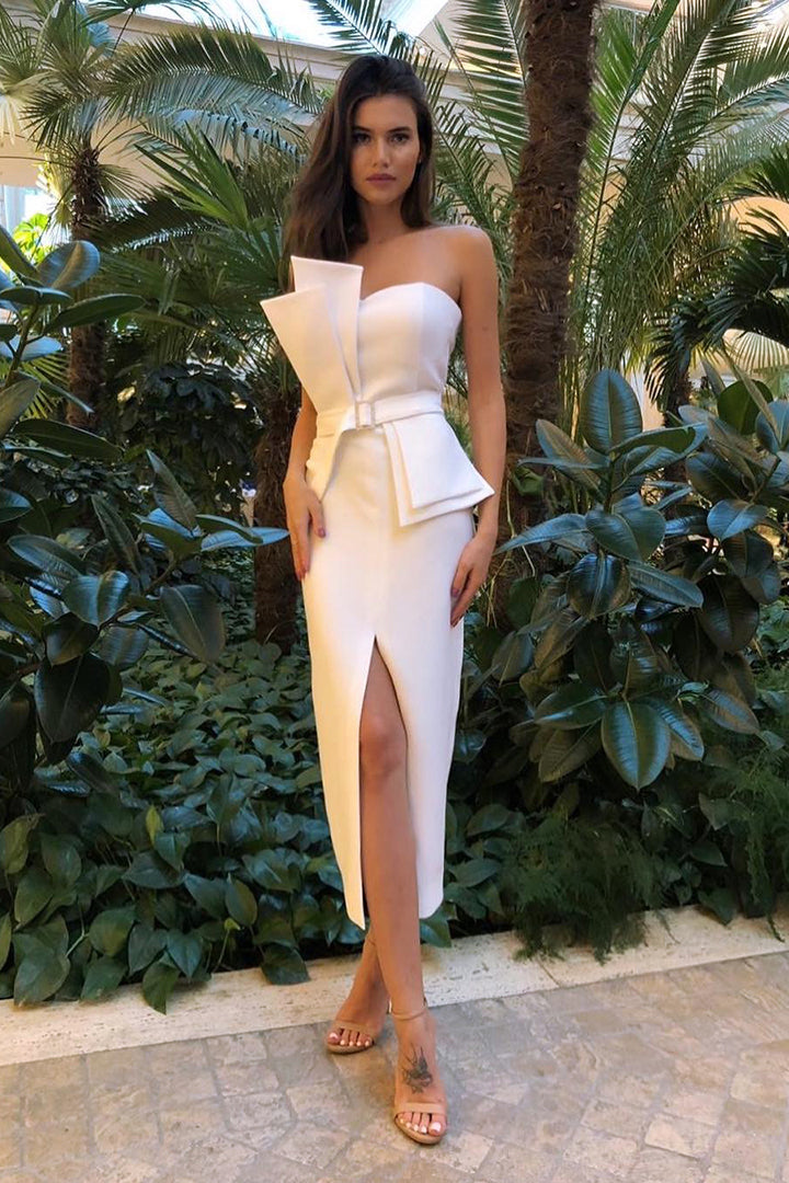 White Strapless Slit Mid Calf Dress - iulover