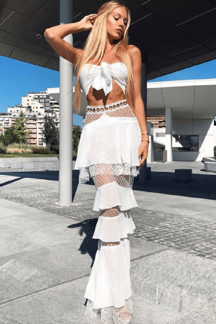 White Lace Strapless Ruffle Two Piece Set - iulover