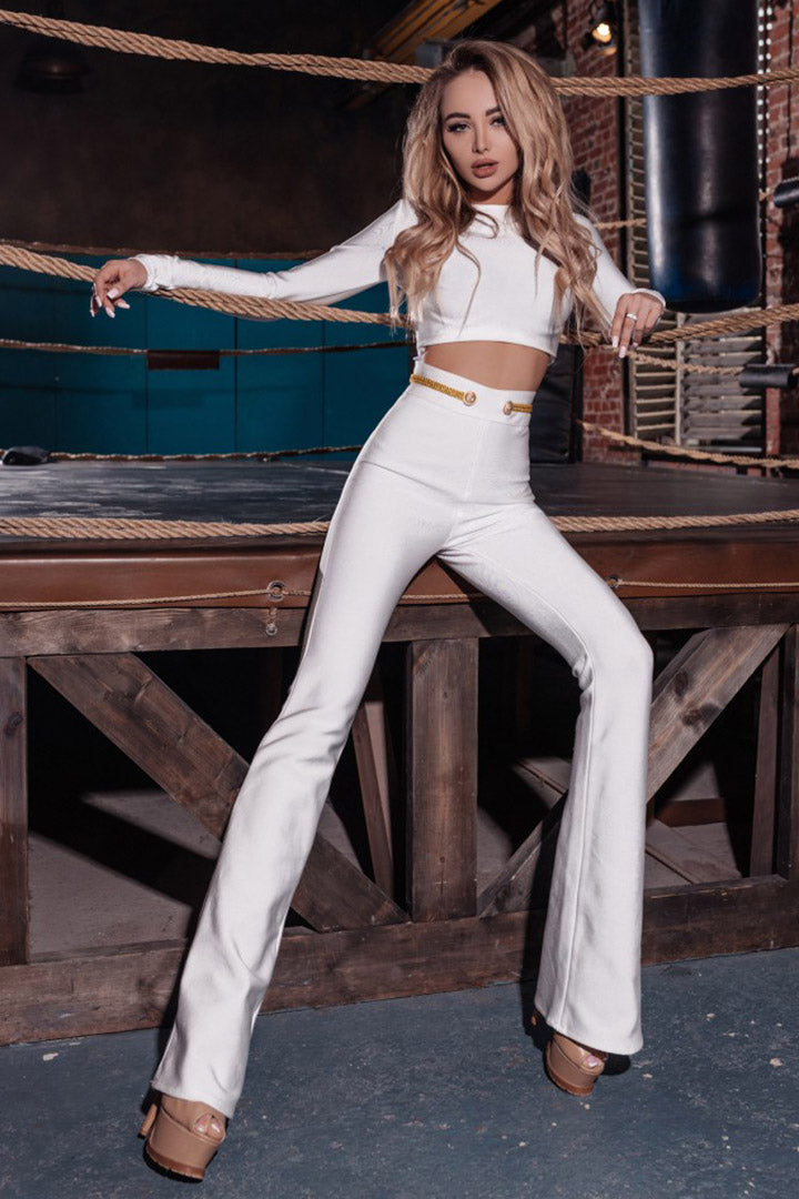 White Two Piece Sets O-Neck Short Top Long Pant Suits Set