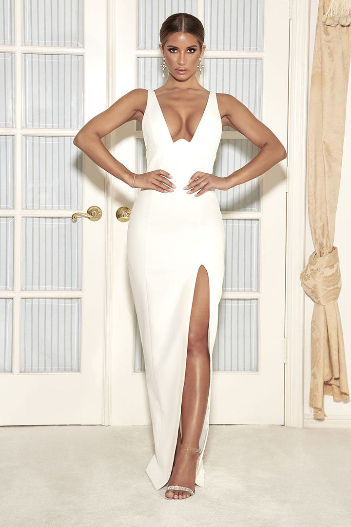 V-Neck High Slit Maxi Bandage Dress White Black