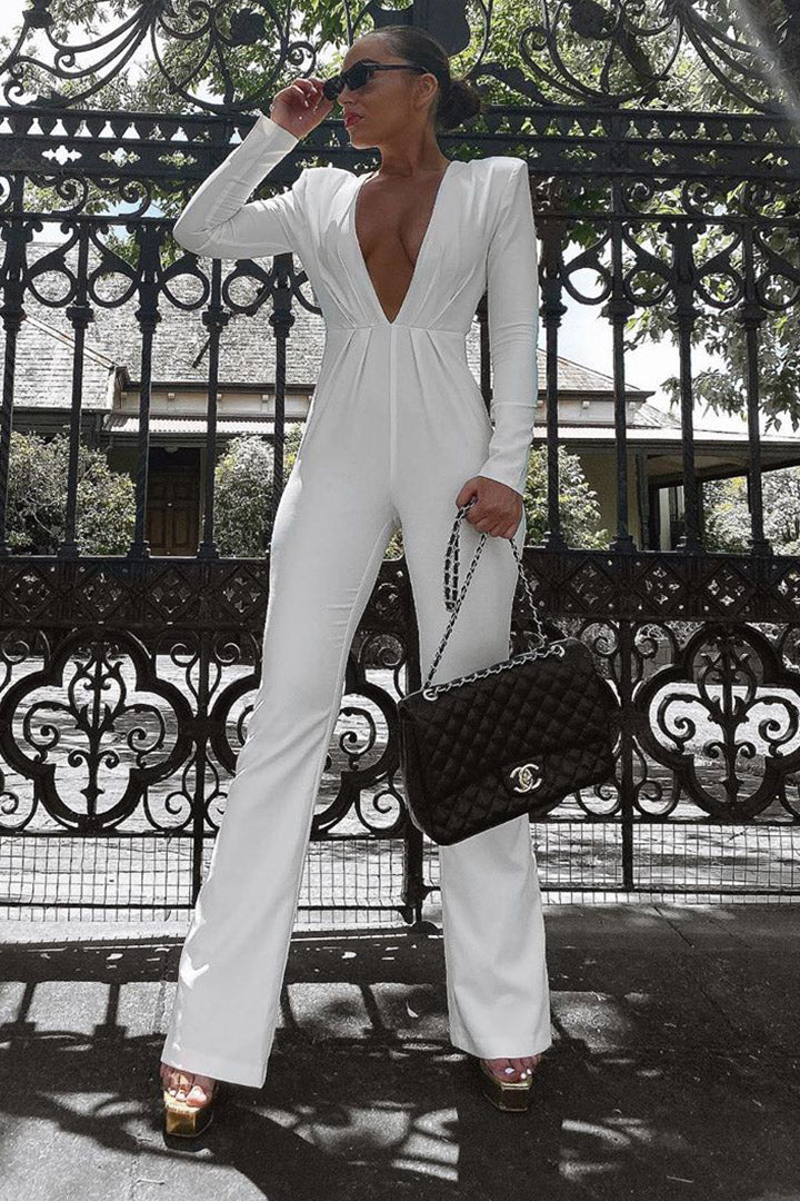 Luxurious Black Long Sleeves Bandage Jumpsuit