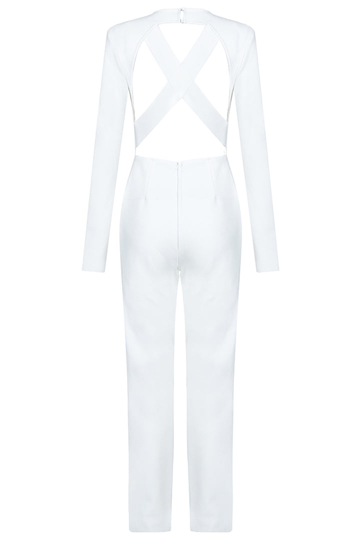 White V Neck Full Sleeve Hollow Out Ankle Jumpsuits - iulover
