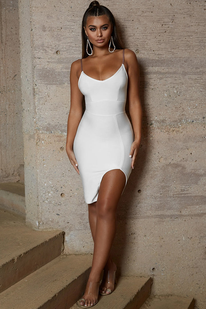 Short Sleeve Mesh Insert Buttons Bandage Dress