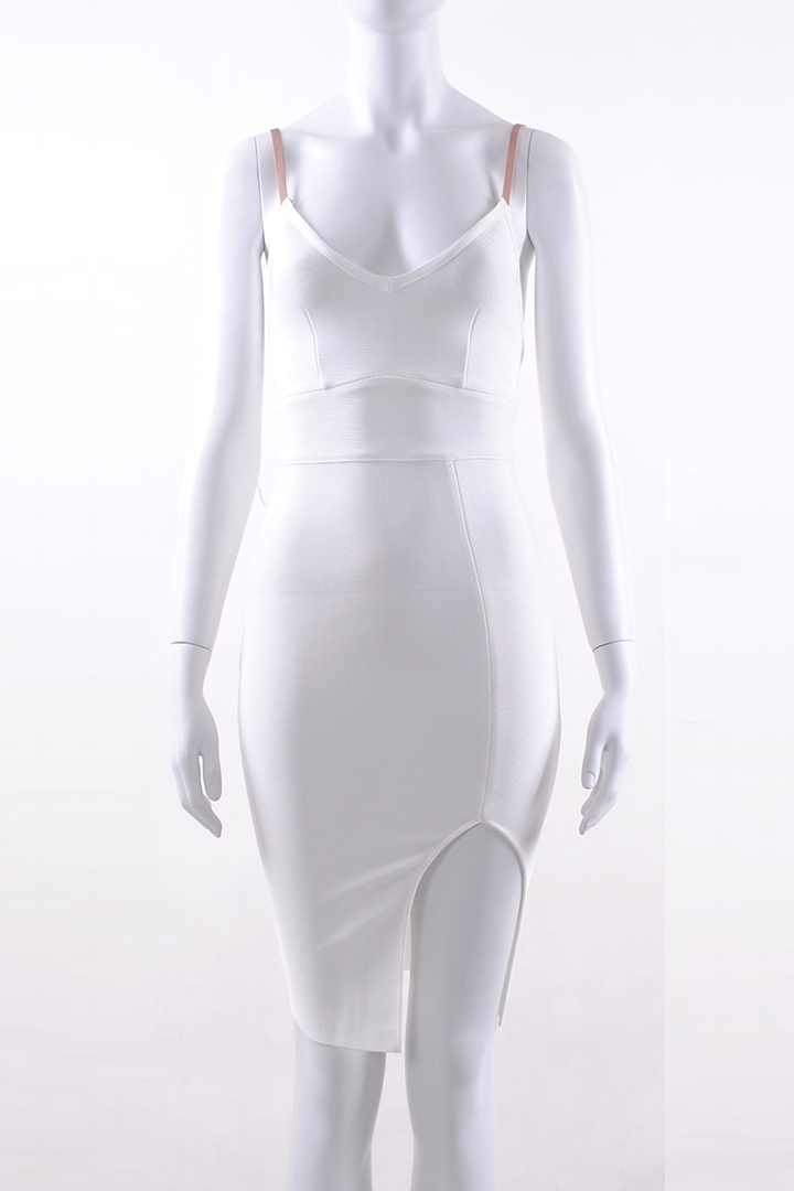 White Strappy Split Difference Mini Bandage Dress - iulover