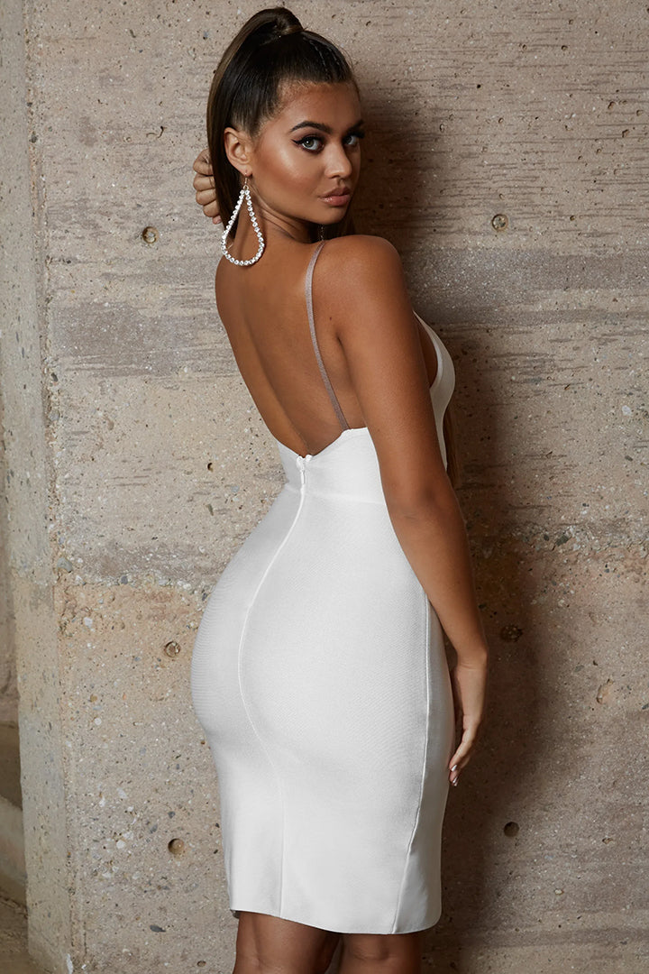 073fe49687 White Strappy Split Difference Mini Bandage Dress – iulover