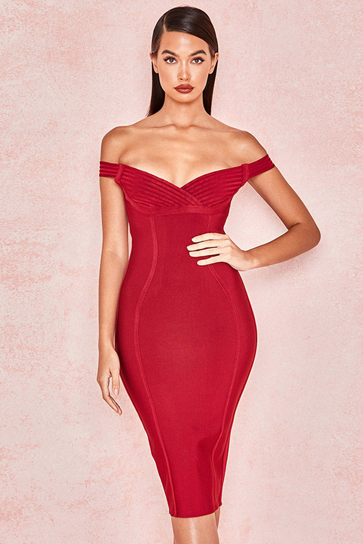 Claret Bardot Off Shoulder Bandage Dress - iulover