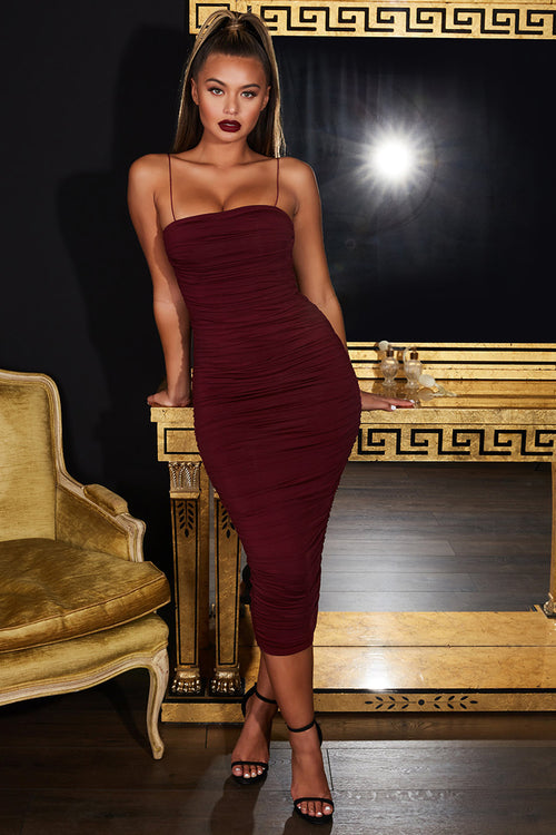 Burgundy Asymmetric Ruched Midi Dress - iulover