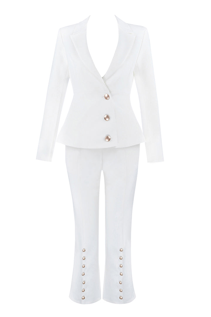 White V-Neck Sexy Business Pant Suits Set - iulover