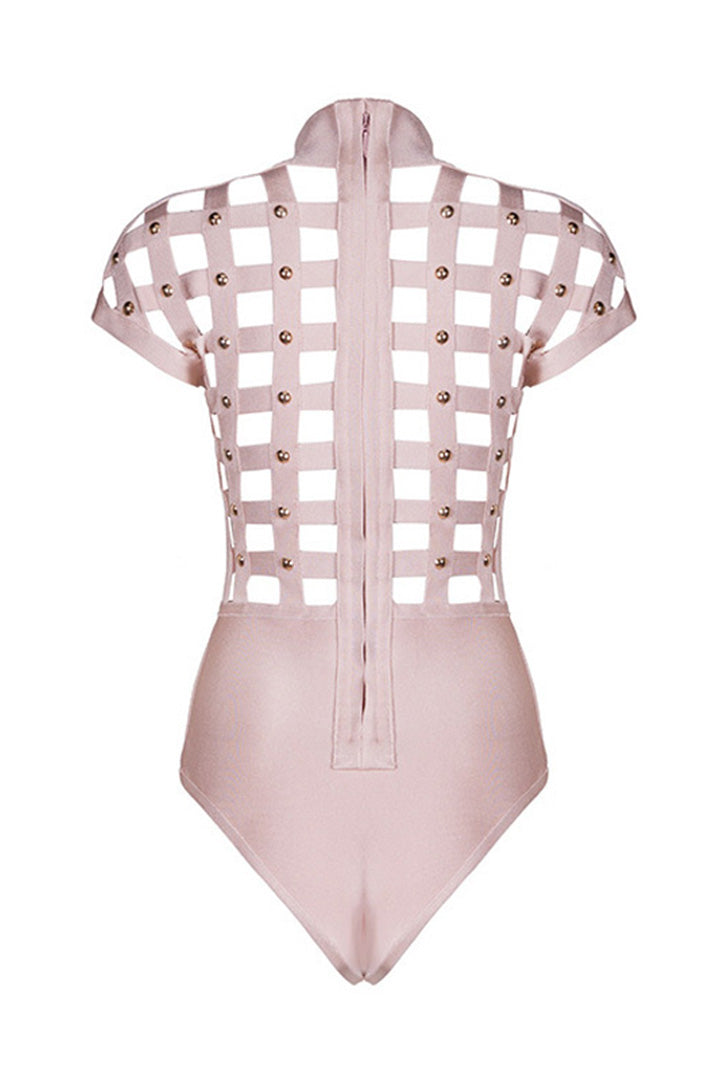 Rivet Studded Hollow Out Sexy Club Party Bodysuits Solid Color - iulover