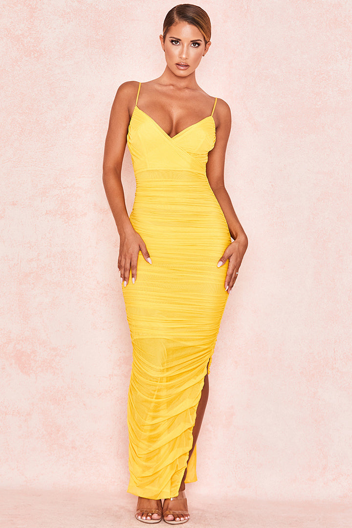 Yellow Strappy Ruched Mesh Maxi Dress - iulover