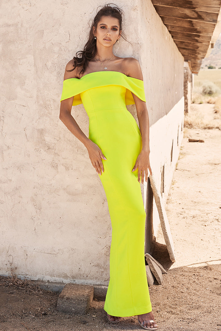 Yellow Off Shoulder Maxi Bandage Dress - iulover