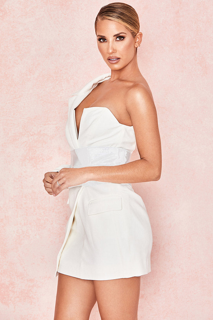 White Crepe One Sleeved Tuxedo Dress - iulover