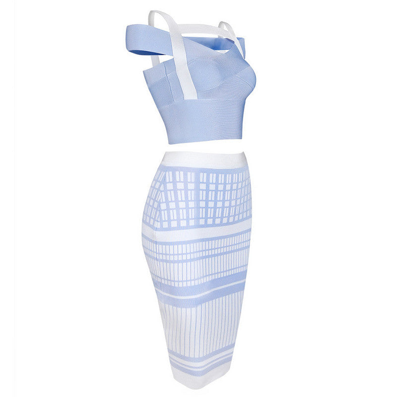 Off Shoulder Criss Cross Two Piece Sets Bandage Dress - iulover