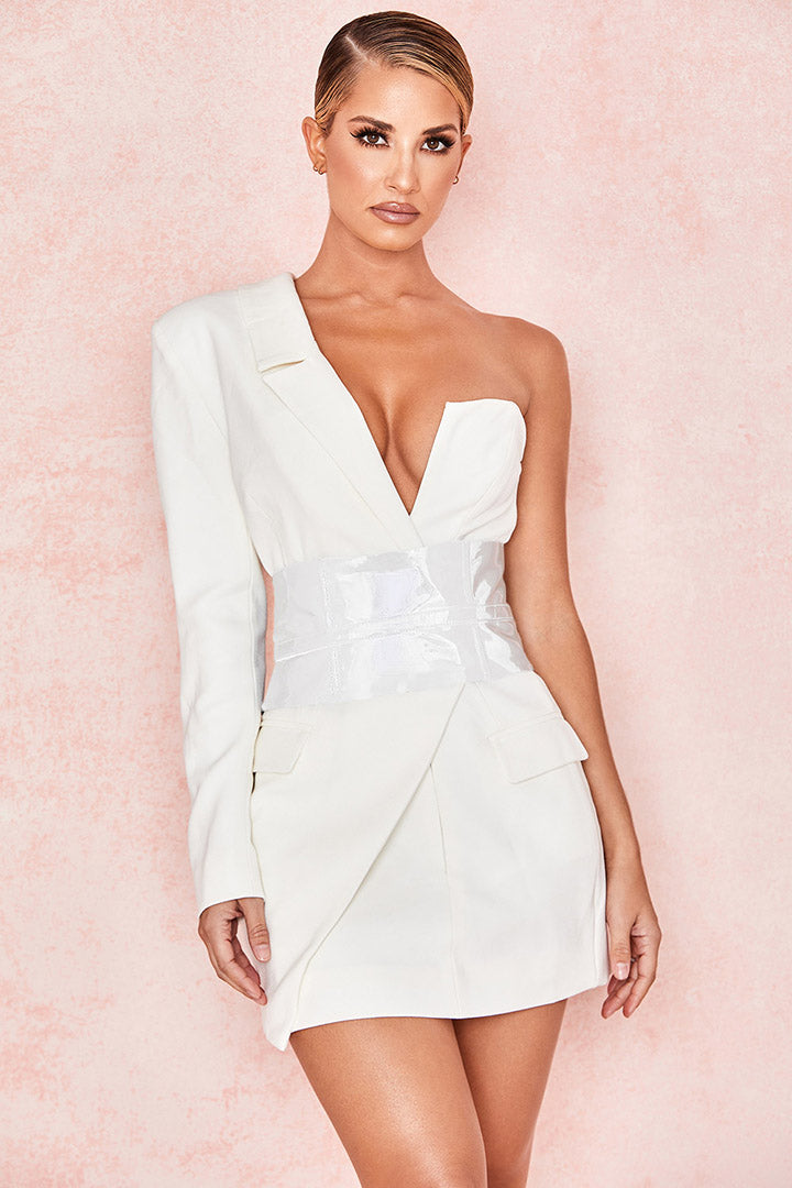 White Crepe One Sleeved Tuxedo Dress