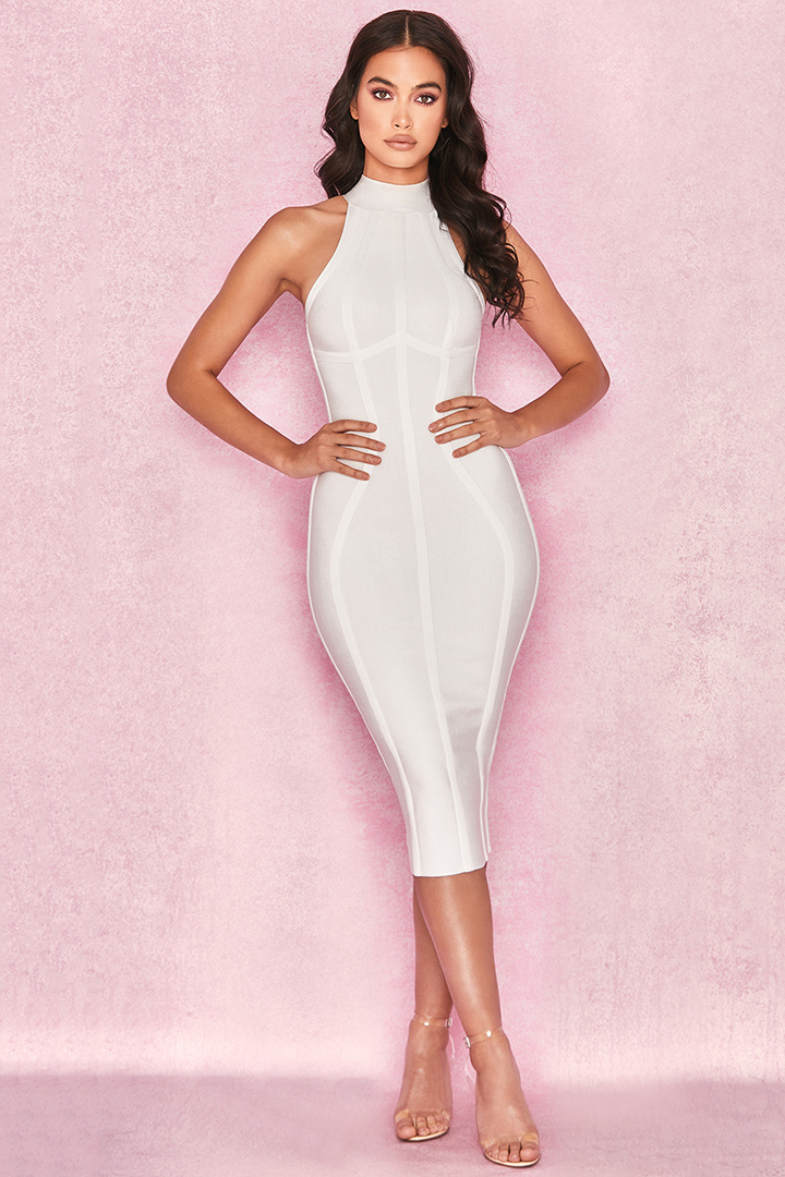 White Halter Midi  BandageDress - iulover