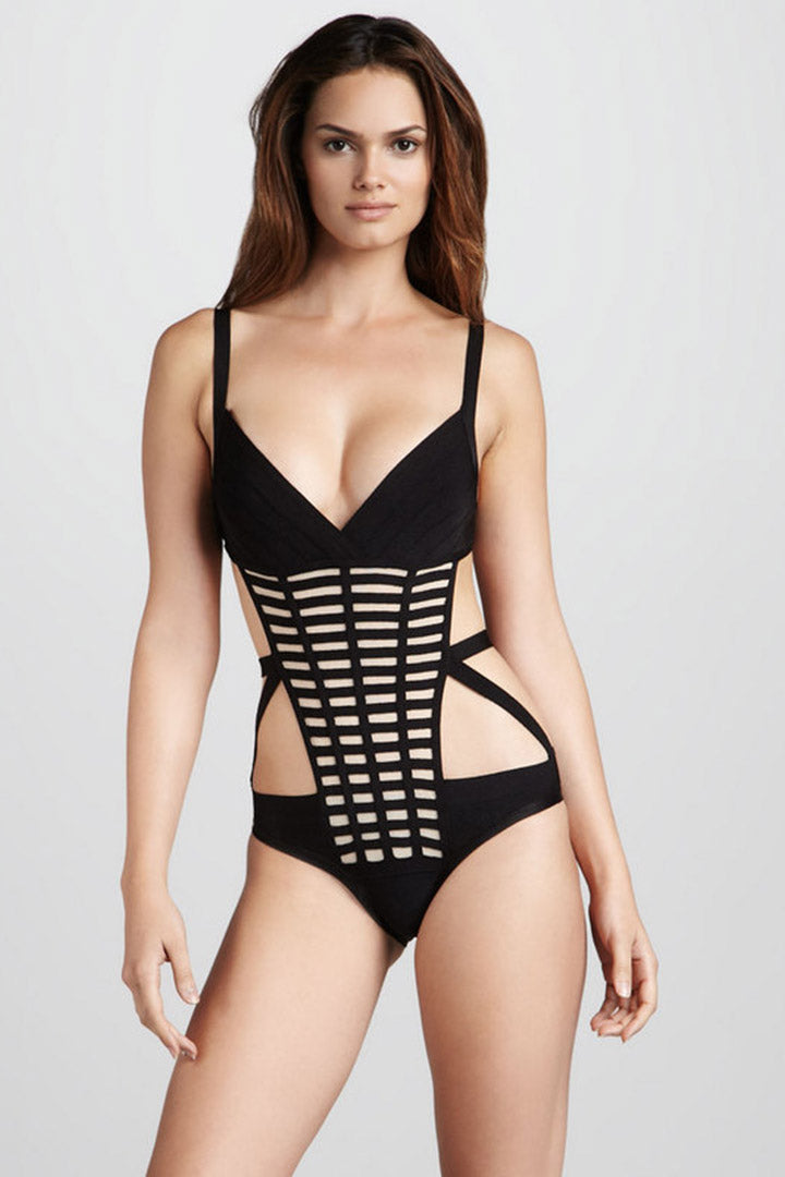 Black Plaid One Piece Bandage Bodysuit Swimwear - iulover