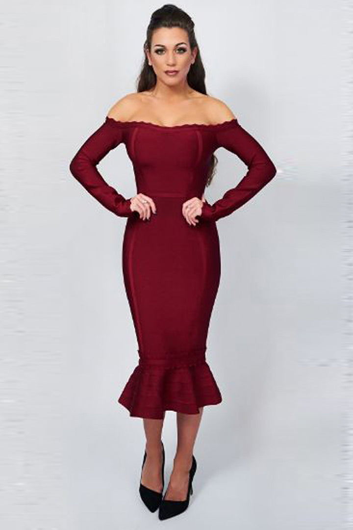 Off-Shoulder Petal Edge Long Sleeves Mermaid Trim Wine Bandage Dress - iulover