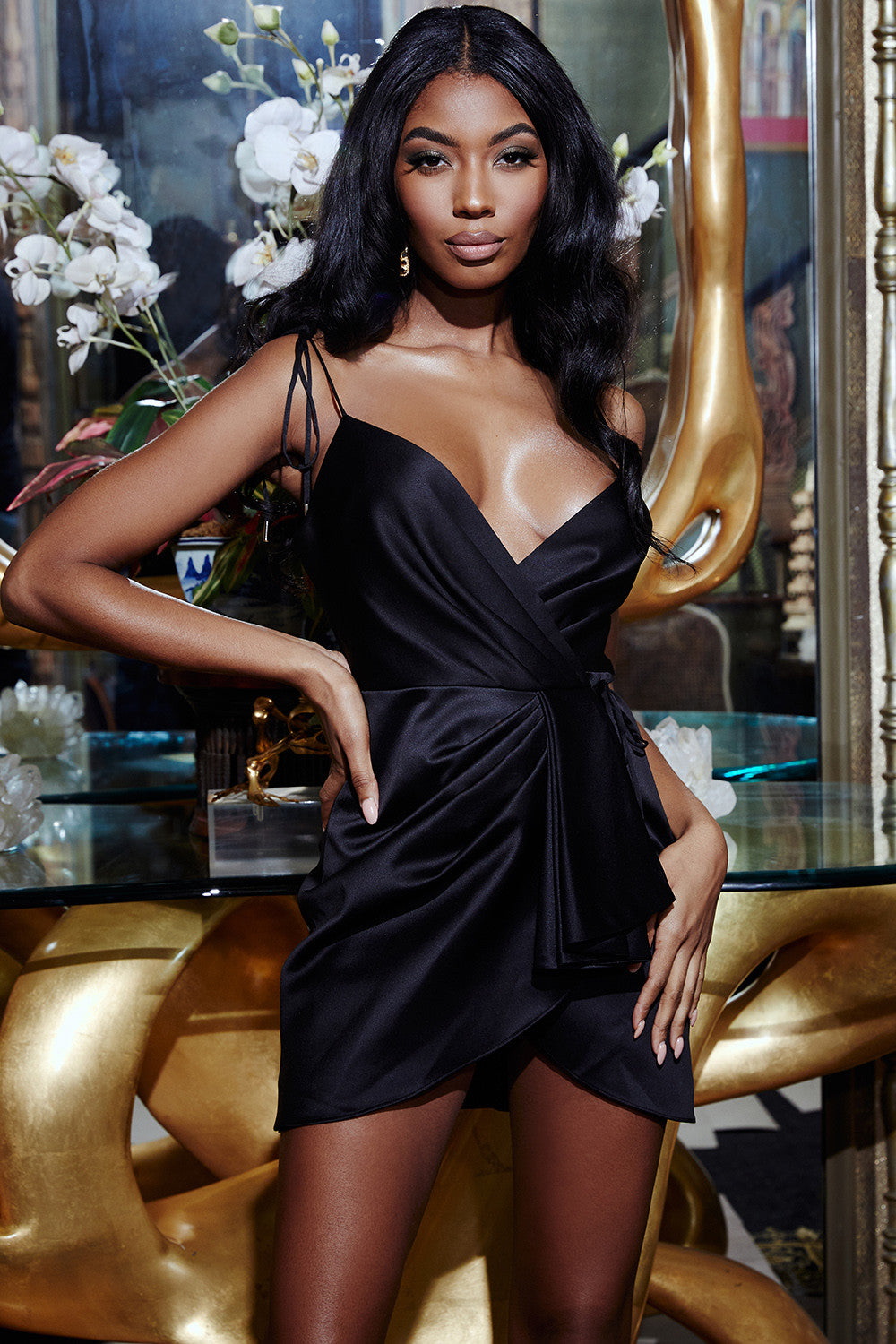 BLACK SATIN STRAPPY WRAP DRESS - iulover