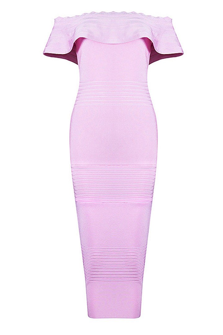 Pink Off The Shoulder Ruffle Neck Bandage Dress - iulover