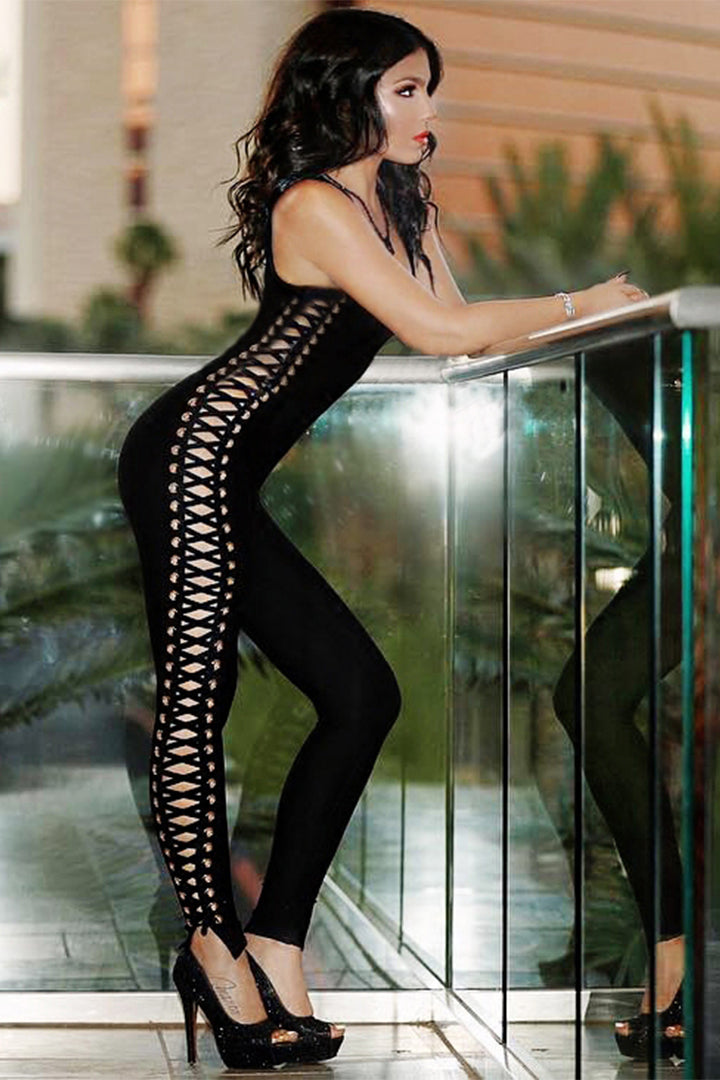 Deep V Lace-up Hollow Out Black Bandage Jumpsuit Bodysuit - iulover