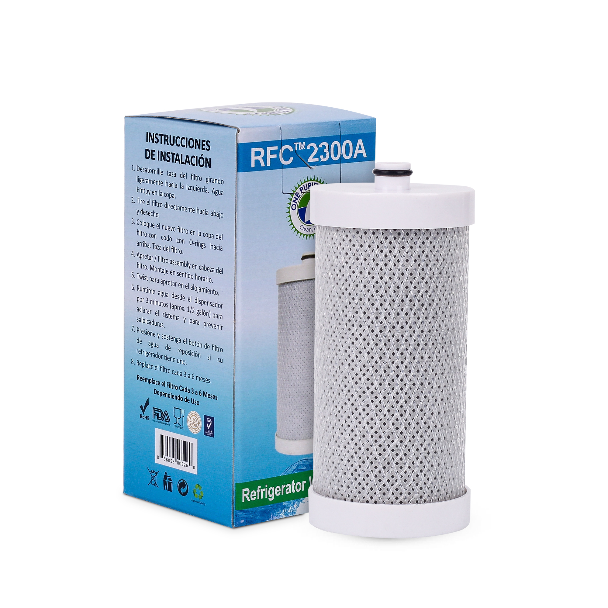 OnePurify RFC2300A Replacement for PH21600 Refrigerator Water Filters