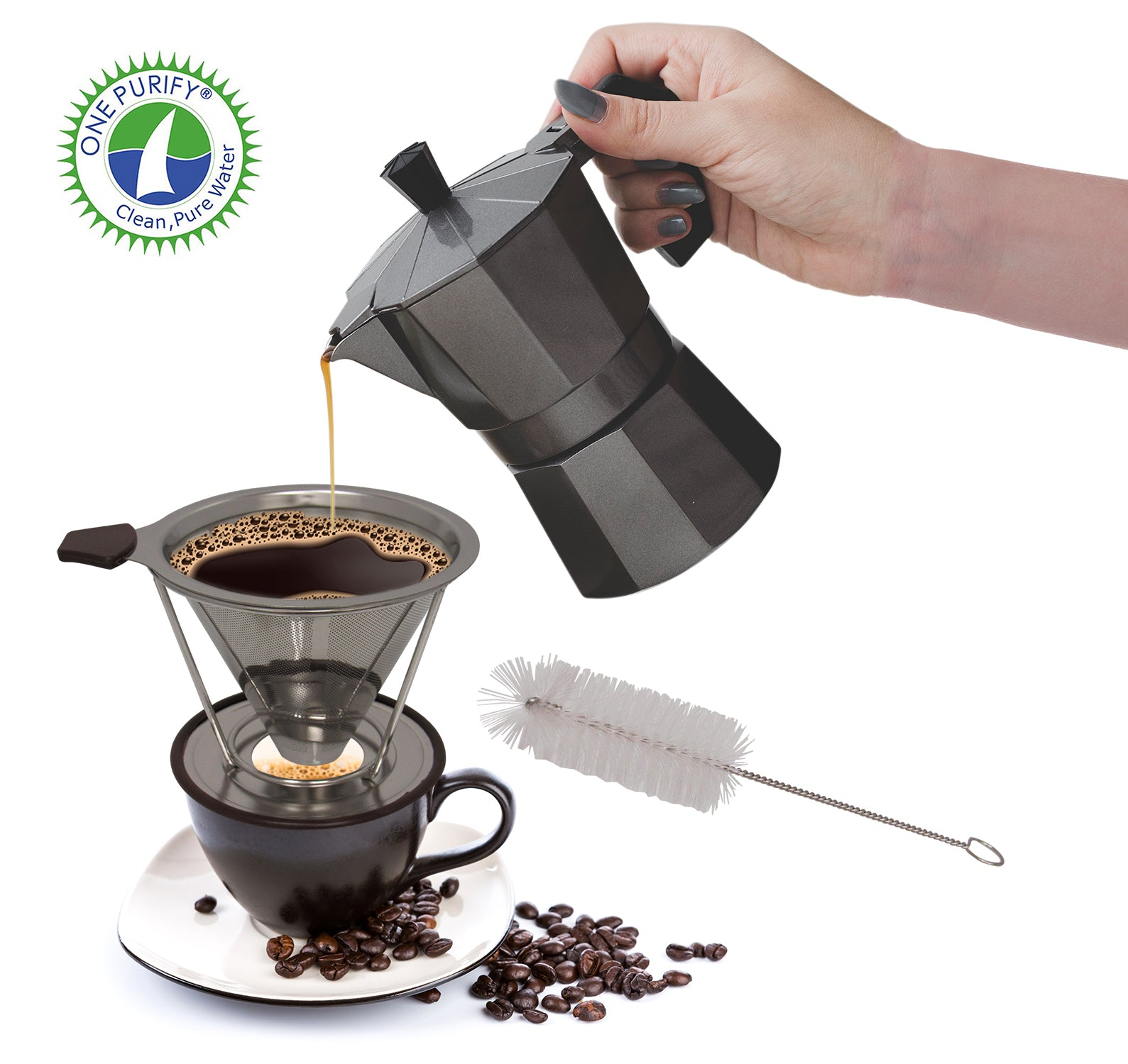 OnePurify Stainless Steel Reusable Coffee Filter, Pour Over