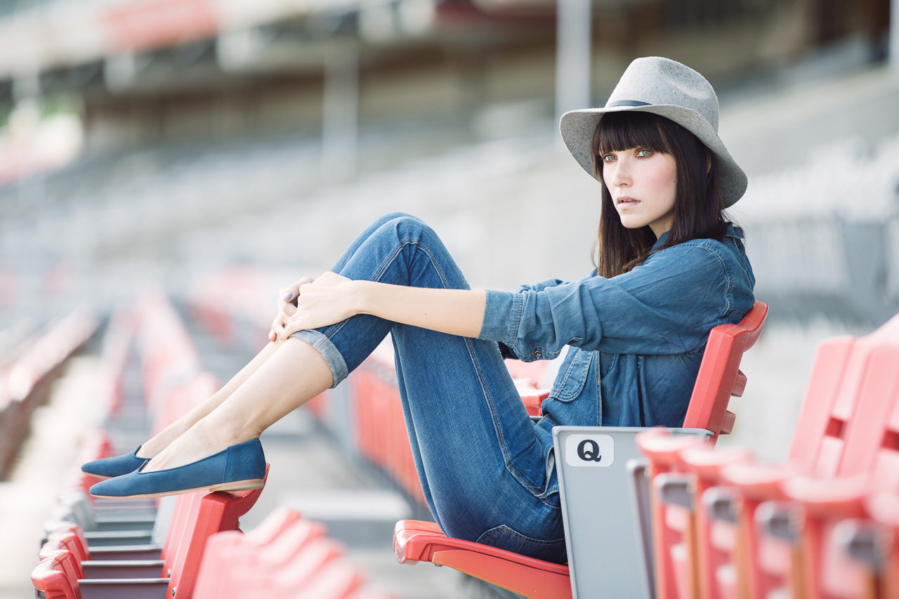 Ania B., Calgary Fashion Blogger, in Poppy Barley's Blue Jean Baby Feminine Slipper at the Calgary Stampede. Poppy Barley offers made-to-measure custom boots and shoes with wide, narrow and standard widths and calf-fitting tall boots, perfect for stampede fashion.