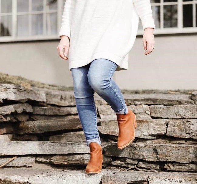 Ankle boots with cuffed jeans