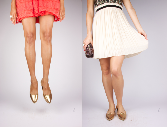 Poppy Barley Metallic Gold Flats