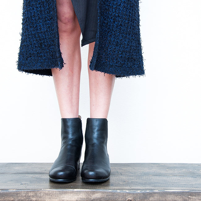 The Midnight Collection: The Bow Flat - navy leather pointed toe ballet flat with bow - Narrow to Wide - The Chelsea Boot by Poppy Barley