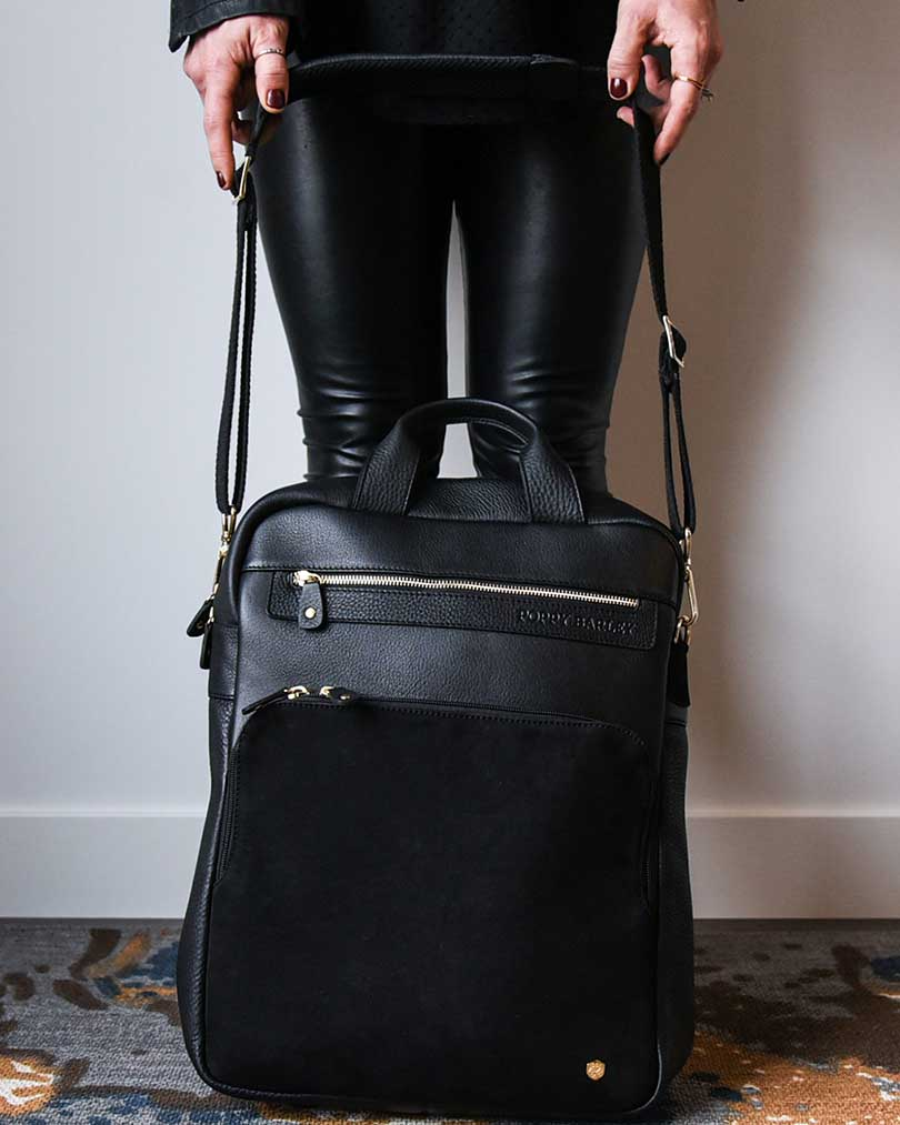 The Backpack - Black and Black Nubuck - Poppy Barley