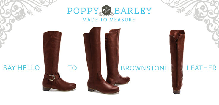Poppy Barley made to measure, ethically made, sizes 5-12 mens and women. Custom brown tall all leather boots in brownstone leather