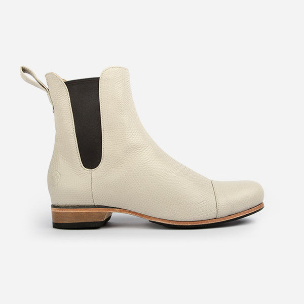 Poppy Barley | The Chelsea Boot | Ivory Snake | Sizes 5 to 12 and narrow, standard and wide