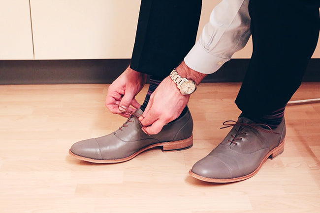 The Edmonton Oxford - Narrow to extra wide - mens grey leather oxfords - Size 14.5 men's shoes - Poppy Barley