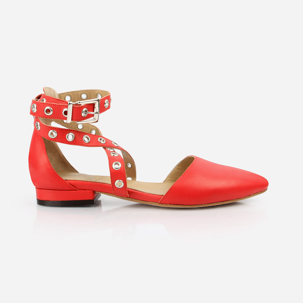 The The Eyelet Strappy Sandal Flame Red - Poppy Barley