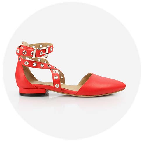 The Eyelet Strappy Sandal in Flame Red  - Poppy Barley