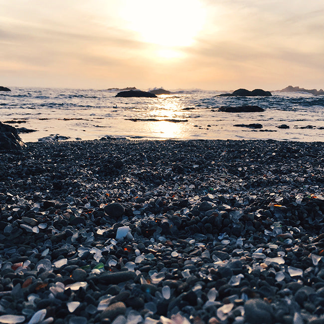 Glass Beach in Fort Bragg, California - How to Work Remotely - Poppy Barley