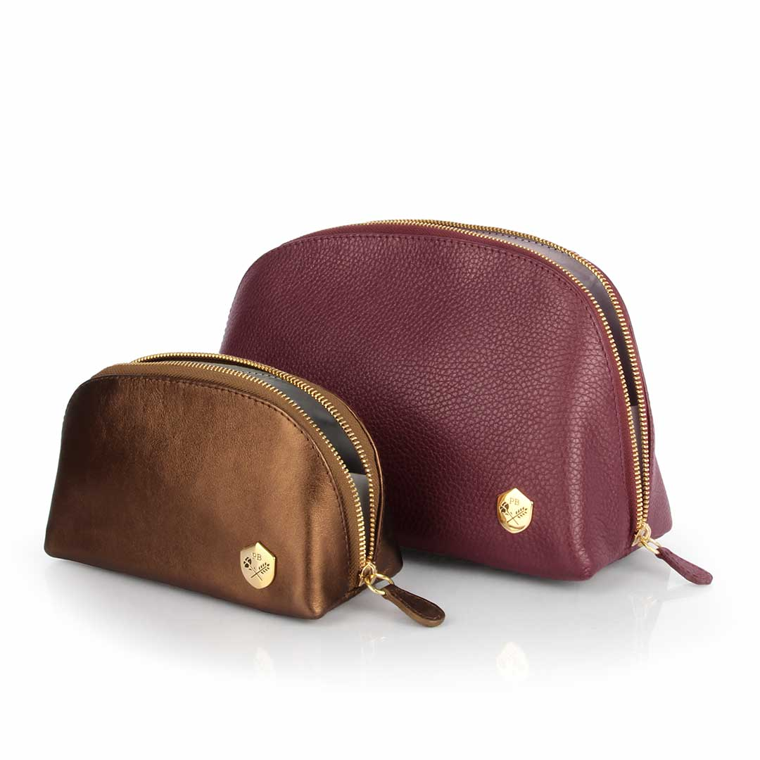 The Large Makeup Bag Bordeaux And Bronze Set - Poppy Barley