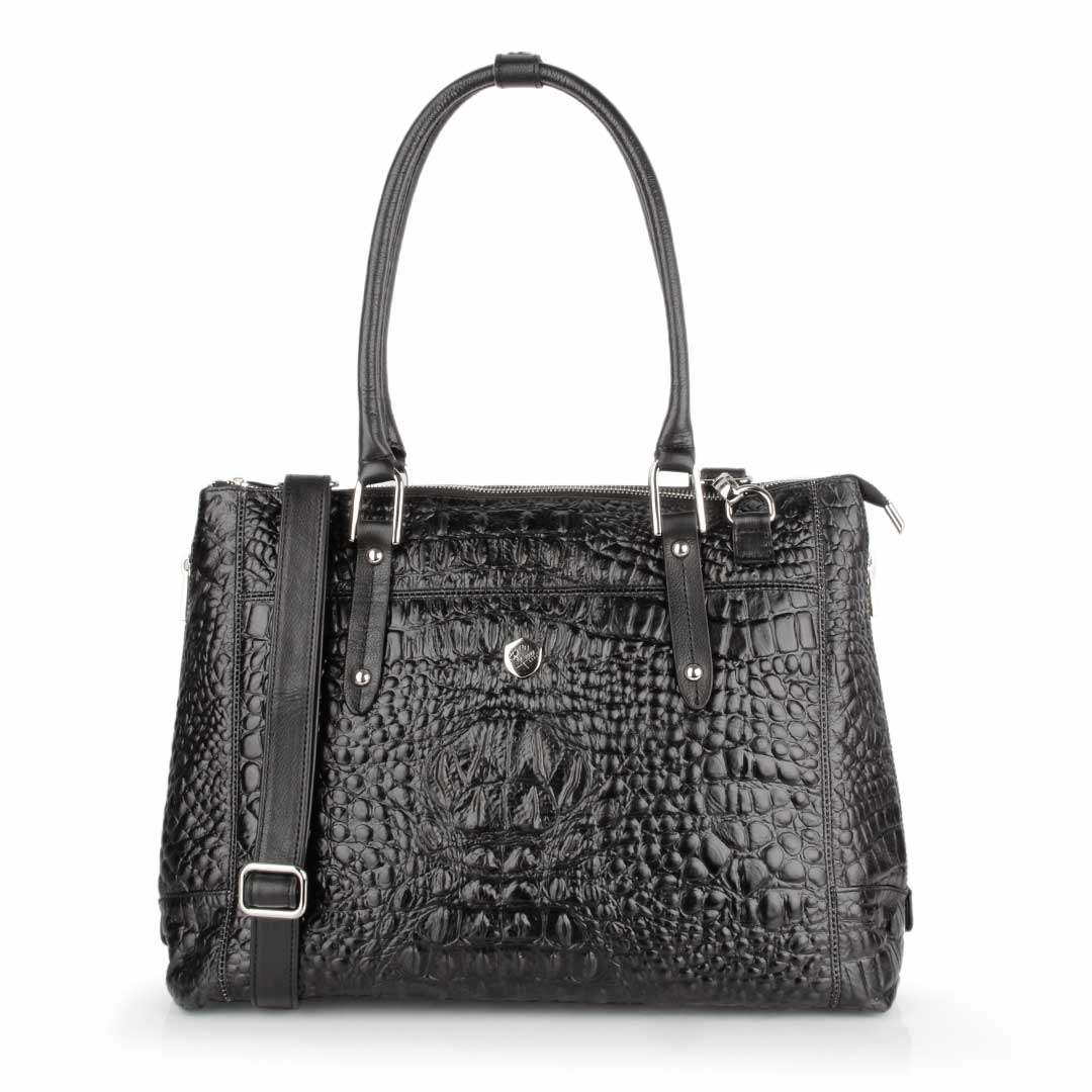The Perfect Handbag Black Croc - Poppy Barley